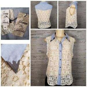 NWT Jenna & Jessie Lace and Denim Collared Tank